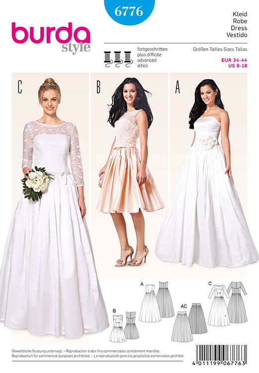 Misses Wedding And Evening Dress Burda Sewing Pattern No 6776 Size