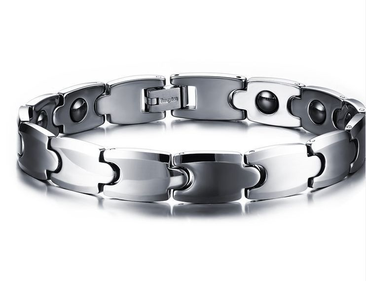 Silver Tungsten Carbide Steel Hemae Therapy Health Care Bracelet