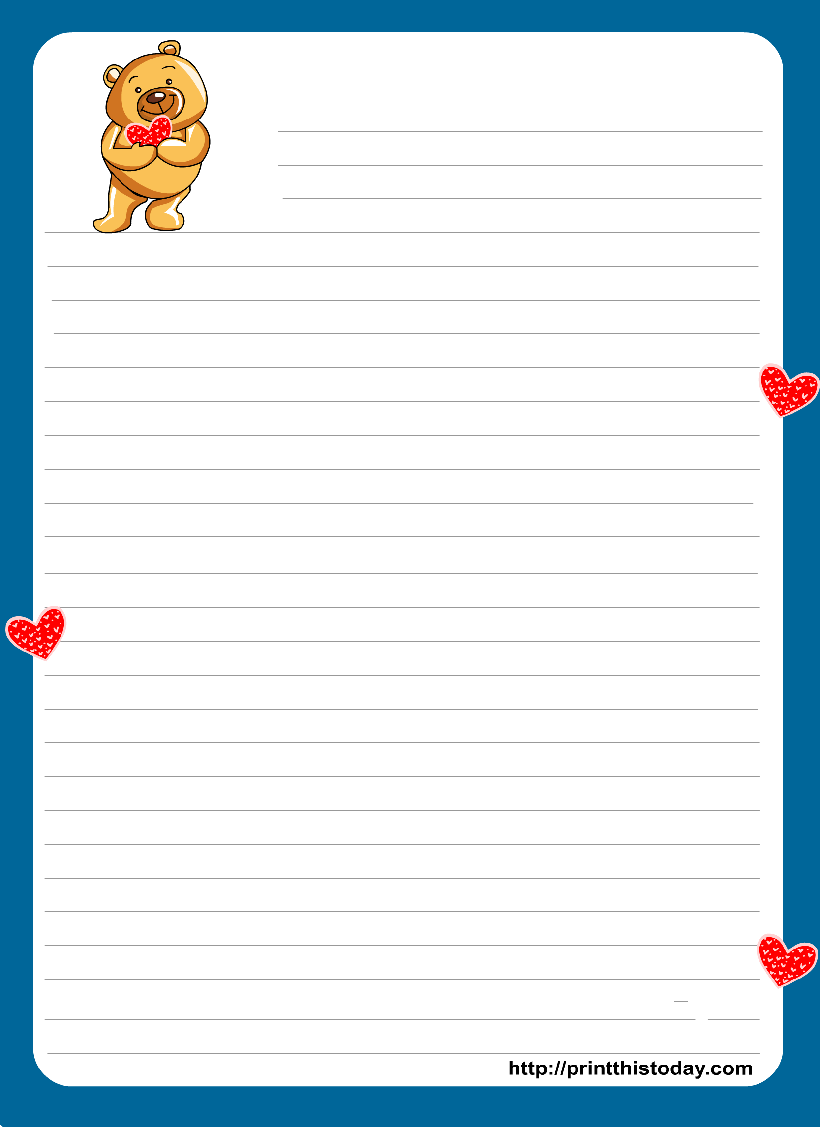 teddy bear writing paper for kids - Papers For Kids