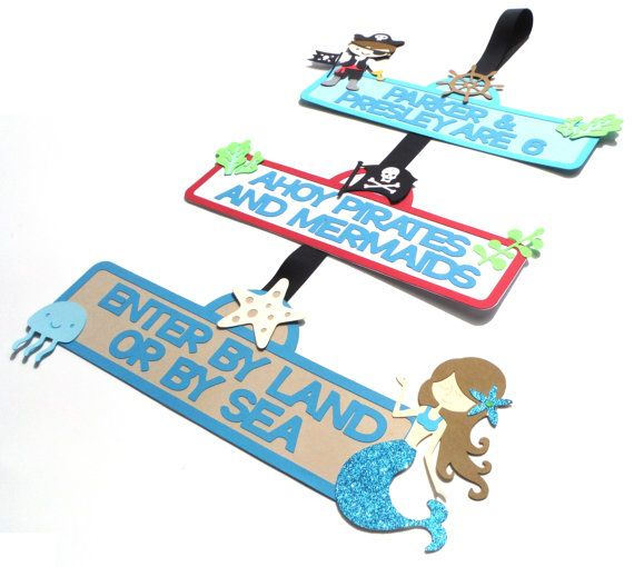Pirate and Mermaid Party Door Sign Personalized Birthday Party Decoration - Under The Sea with Glitter Tail Mermaid