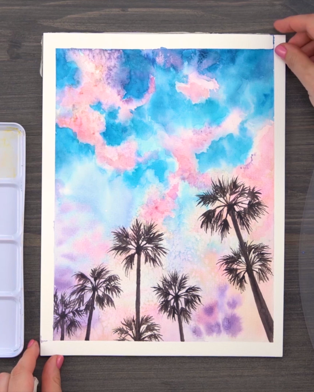 Cotton Candy Skies with Watercolor Paint