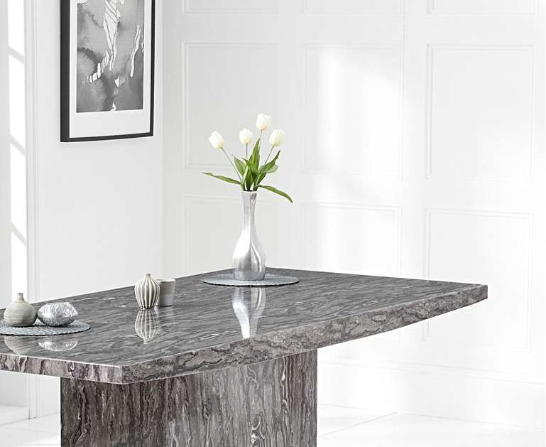 Crema 180cm Grey Marble Dining Table In