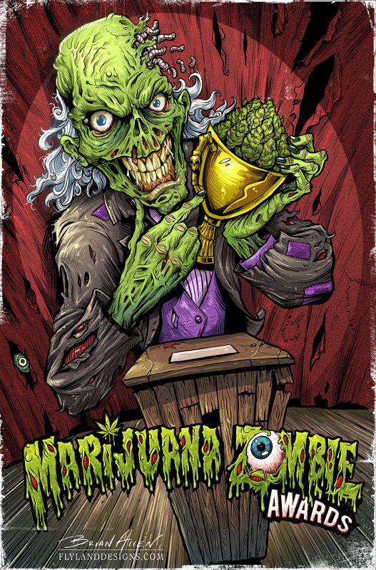Marijuana Zombie Club by Layne Bauman, Flyland Designs. | Zombies ...