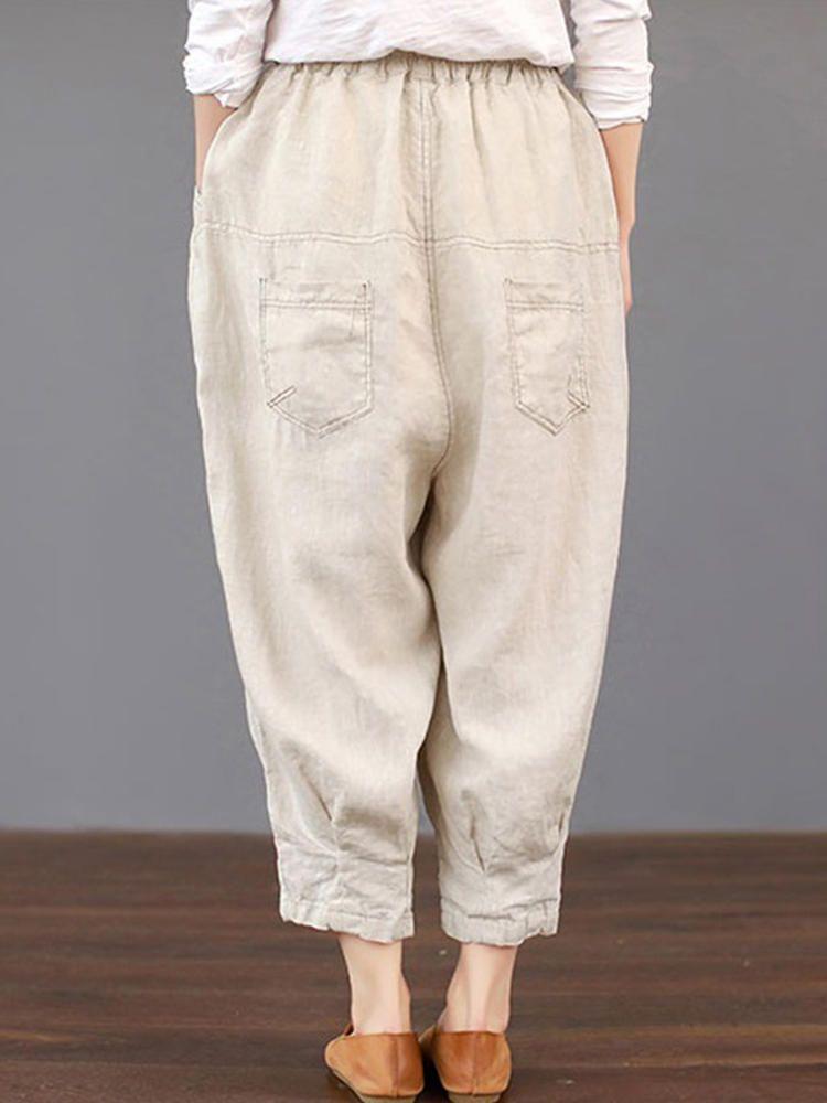 Womens Ladies Elastic Waist Baggy Pants Crop Cotton Linen Loose Harem Trousers
