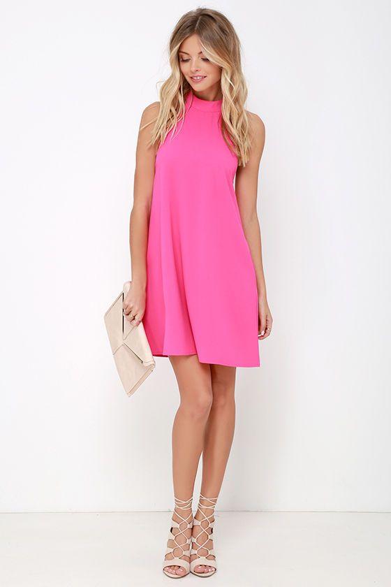 Hot Pink Halter Dresses