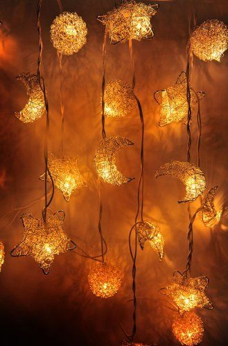 1 Set of 20 Mixed Moons, Stars, Suns Silver Aluminium Coil Lighting String Lights Set Lamp Decoration Patio Home Living Room Yard Garden Indoor and Outdoor for Birthday, Christmas, New Year, Wedding Anniversary, Ceremony, Graduation, Valentine Party, http://www.amazon.com/dp/B00H4TPGKY/ref=cm_sw_r_pi_awdm_zRU0tb1J9M332