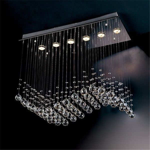 Contemporary 6 Light Crystal Wave Chandelier Modern Style Curtain Wave Led  Gu10 Bulb Lights L750*w300*h650mm Crystal Chandelier Pendent Lamp,  Wholesale Wall ...