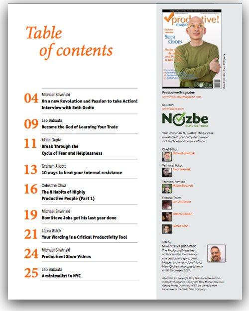 Magazine Table Of Contents Images Table Of Contents Of Productive
