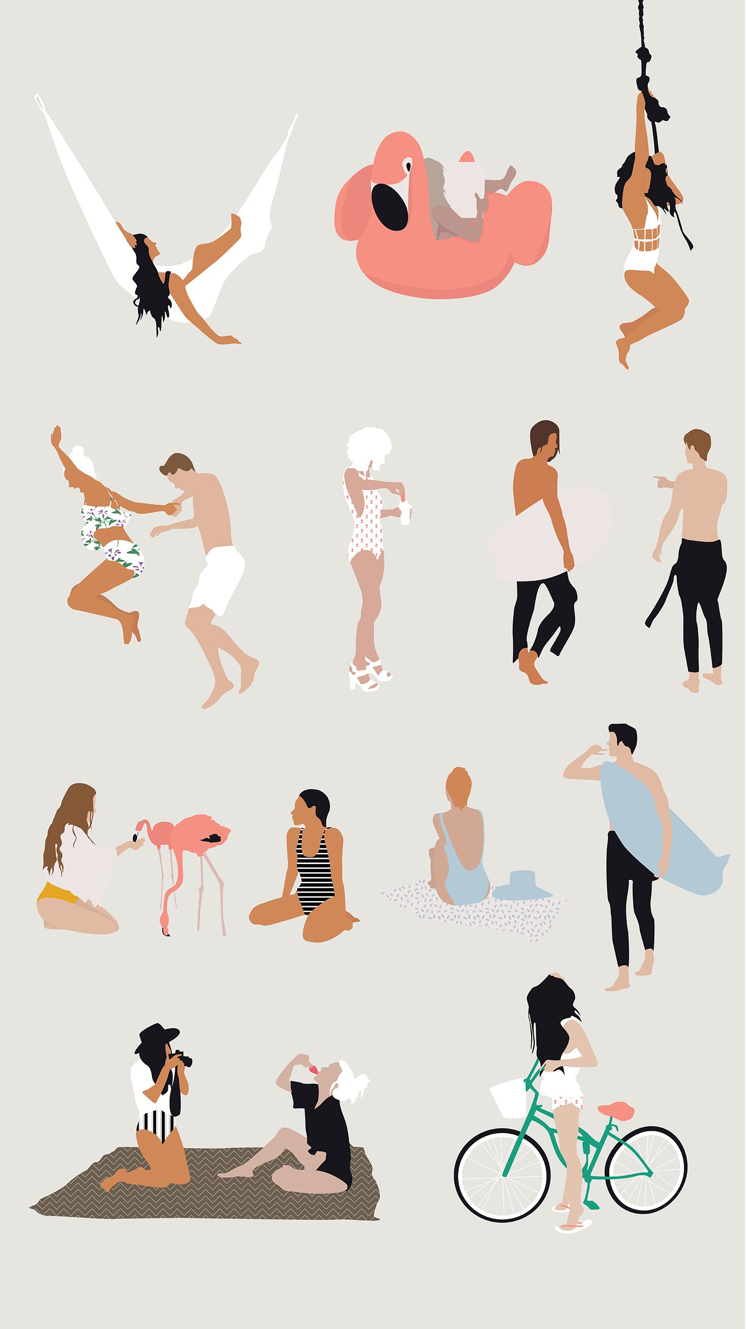 Flat Vector Summer Theme People Illustration for ...