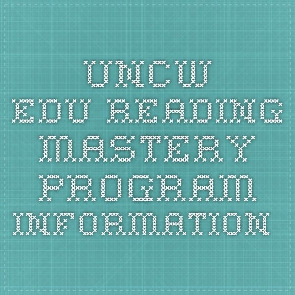 uncw.edu Reading Mastery Program Information