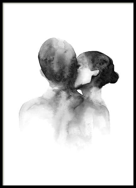 – Aquarell-Illustration in Schwarz-weiß mit einer Frau, die einen Mann auf die Wange küsst Einrichtungsideen und Inspiration   Kunst & Wohnideen - Desenio.de