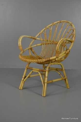 Retro Cane Boho Albini Style Bedroom Chair Small Lounge Chair   Kernow  Furniture   2
