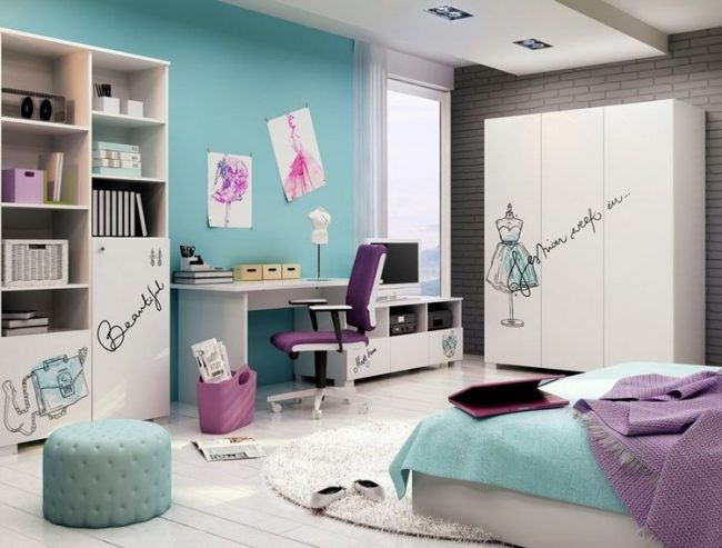 kinderzimmer wandgestaltung ideen maedchen farbe tuerkis weisse moebel lila akzenze deko. Black Bedroom Furniture Sets. Home Design Ideas