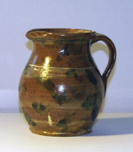 Distinctive c 1870 redware pitcher from Lawrence POTTERY IN Beverly, MA.