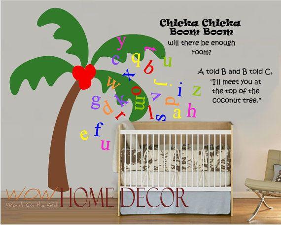 Vinyl Wall Art Decal Chicka Chicka Boom Boom Coconut Tree Story Custom Nursery Alphabet Decal Wall Art Vinyl Wall Art Decals Vinyl Wall Art