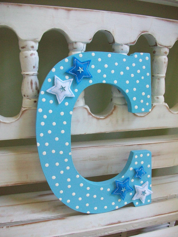 Baby Boy Letter C Wall Decor Nursery Initial Alphabet Blue Stars