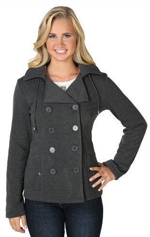 Double Breasted Fleece Jacket with Two Snap Pockets and Hood $21.63 at Deb