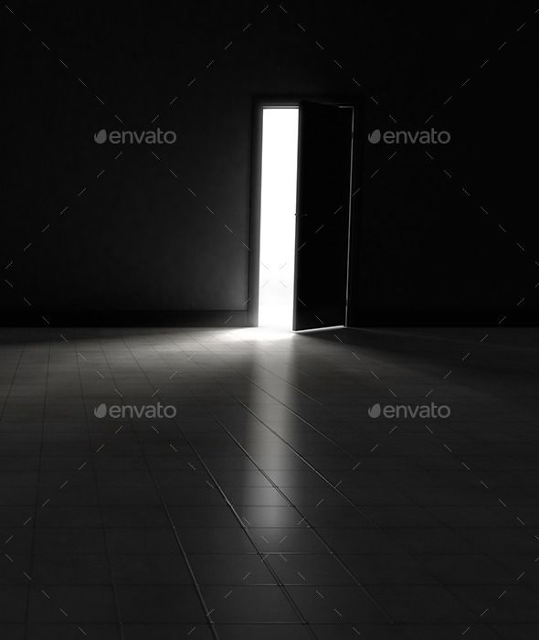 Open Door to Dark Room with Bright Light Bright lights Bright and