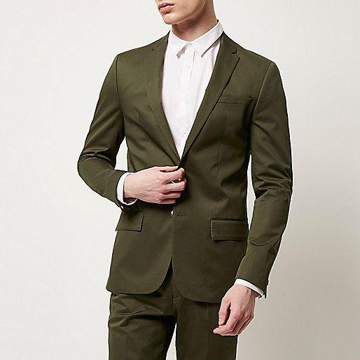 96f8b7dda7a Olive green skinny fit suit blazer - Suit Jackets - Suits - men ...