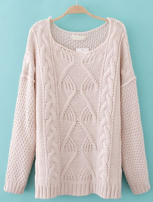 Beige Long Sleeve Chunky Cable Knit Sweater EUR€30.05 | cool ...