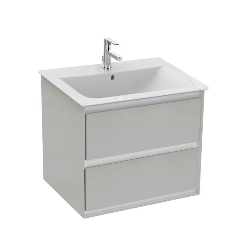 Ideal Standard Connect Air Waschtisch Unterschrank Mit 2 Auszügen Hellgrau  Glänzend/weiß Matt