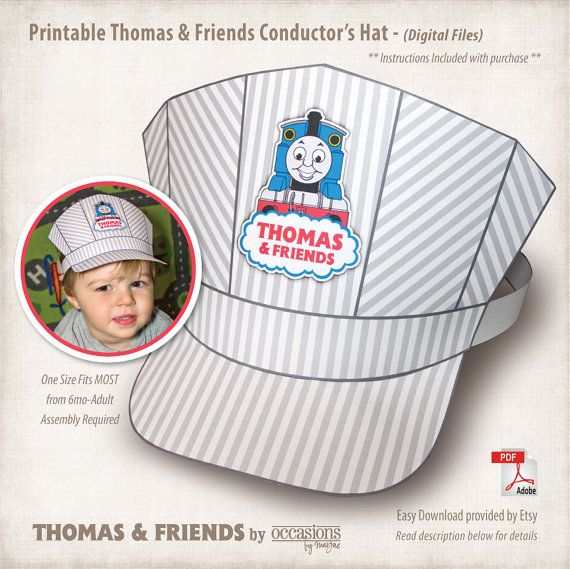 ~ Thomas the Tank Train CONDUCTORS CAP HAT with bonus WHISTLE