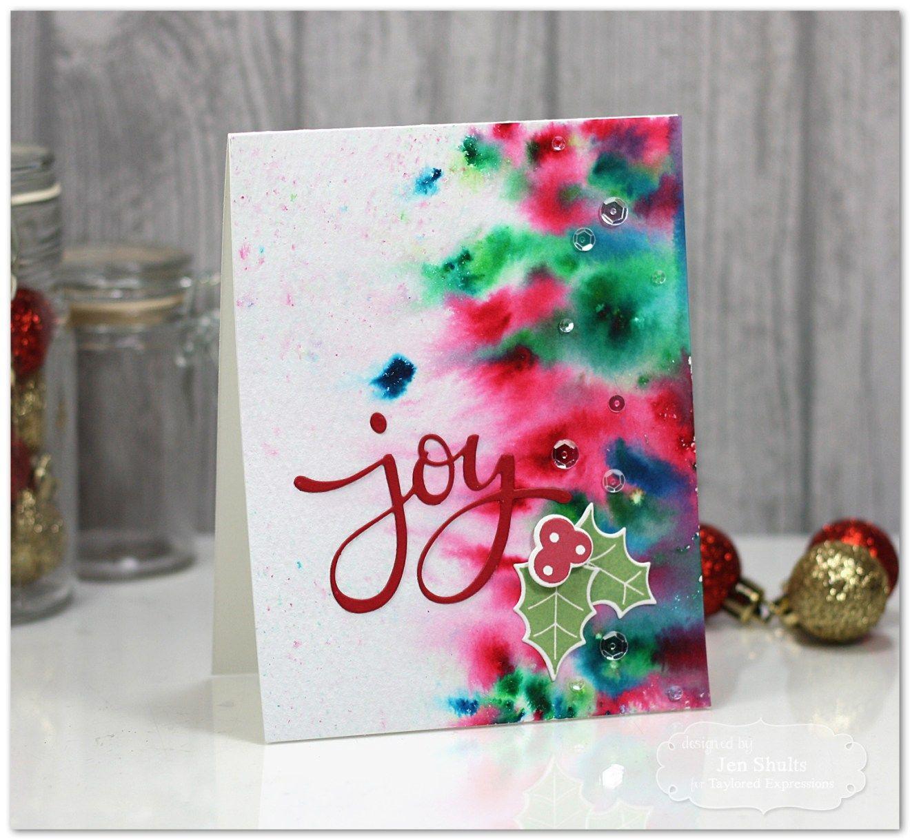 Joy Watercolor christmas cards, Diy christmas cards