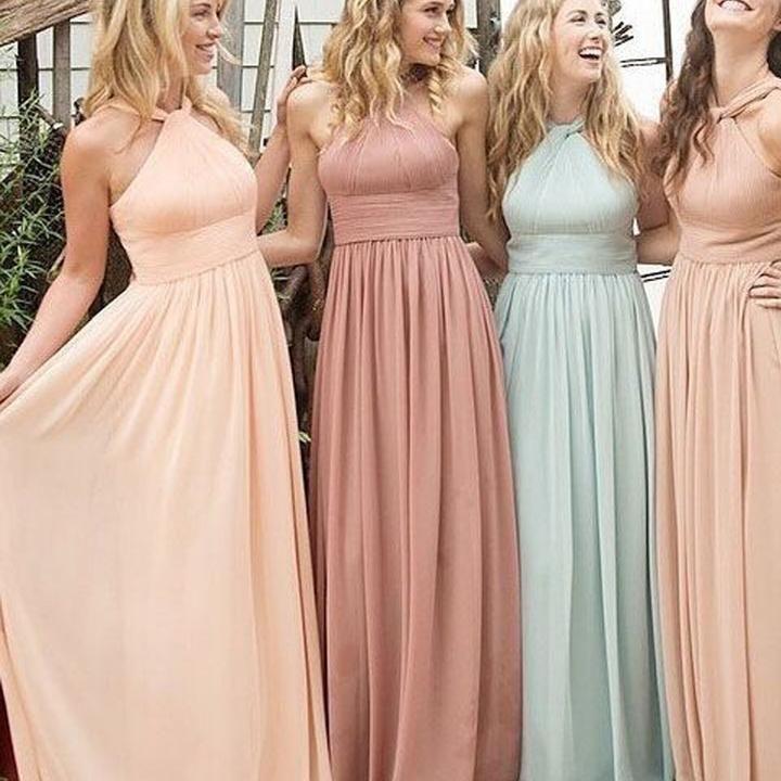 b9ea1a80466 Chiffon Halter Floor-Length Cheap Maxi Bridesmaid Dresses
