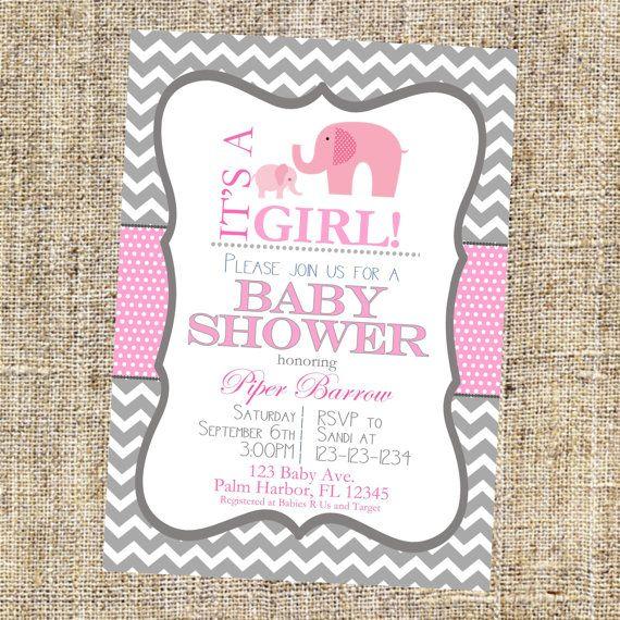 Baby Girl Shower Invitation With Elephants Elephant Shower
