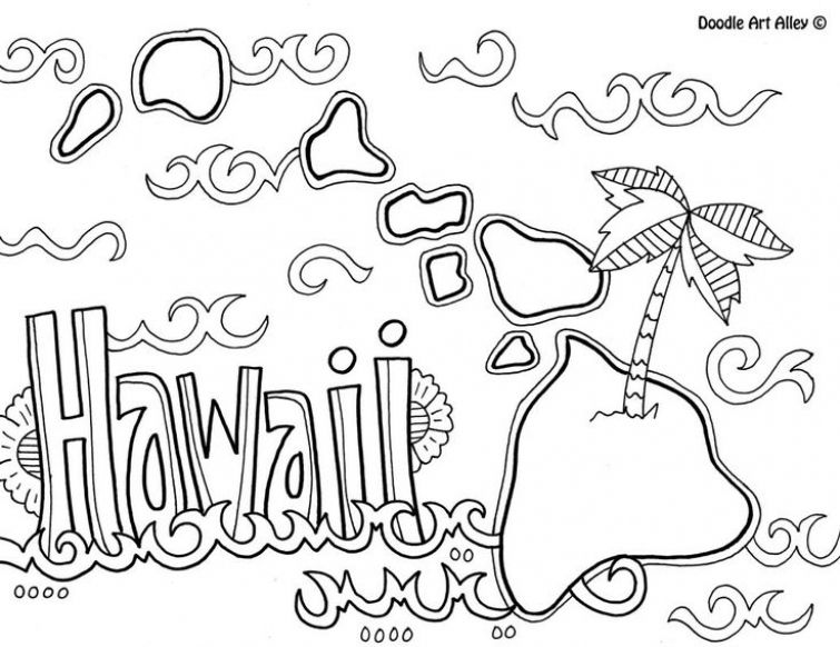 Printable Hawaiian coloring page