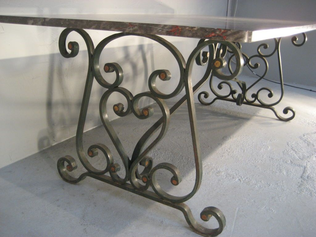 1900's French Wrought Iron Marble Top Dining Table | Marble top ...
