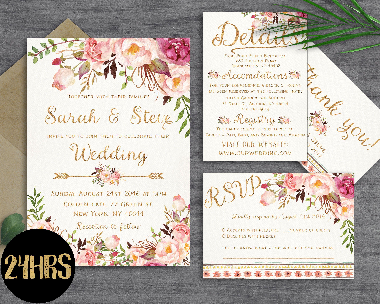 Wedding invitation template Wedding invitation printable Wedding ...