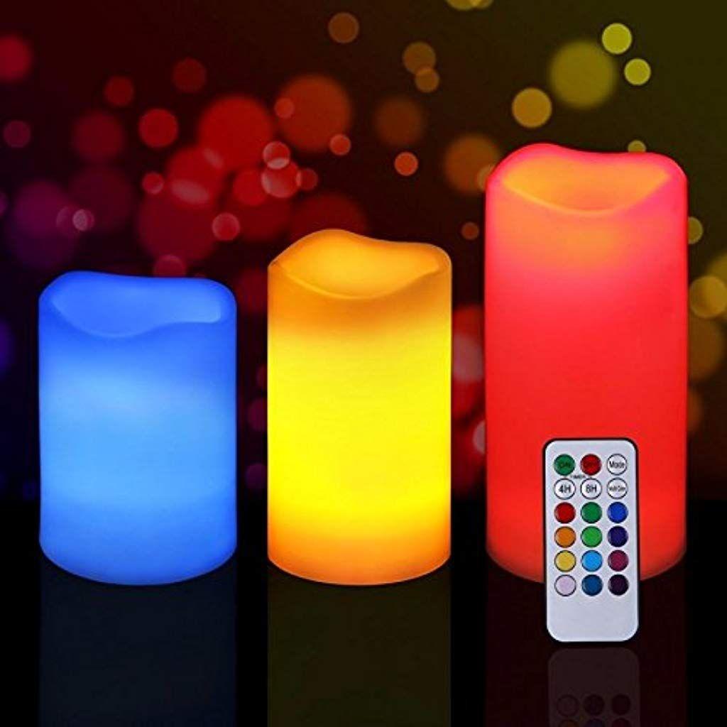 Luci Led Per Cromoterapia set 3 candele led luce rgb candela telecomando fuoco finto