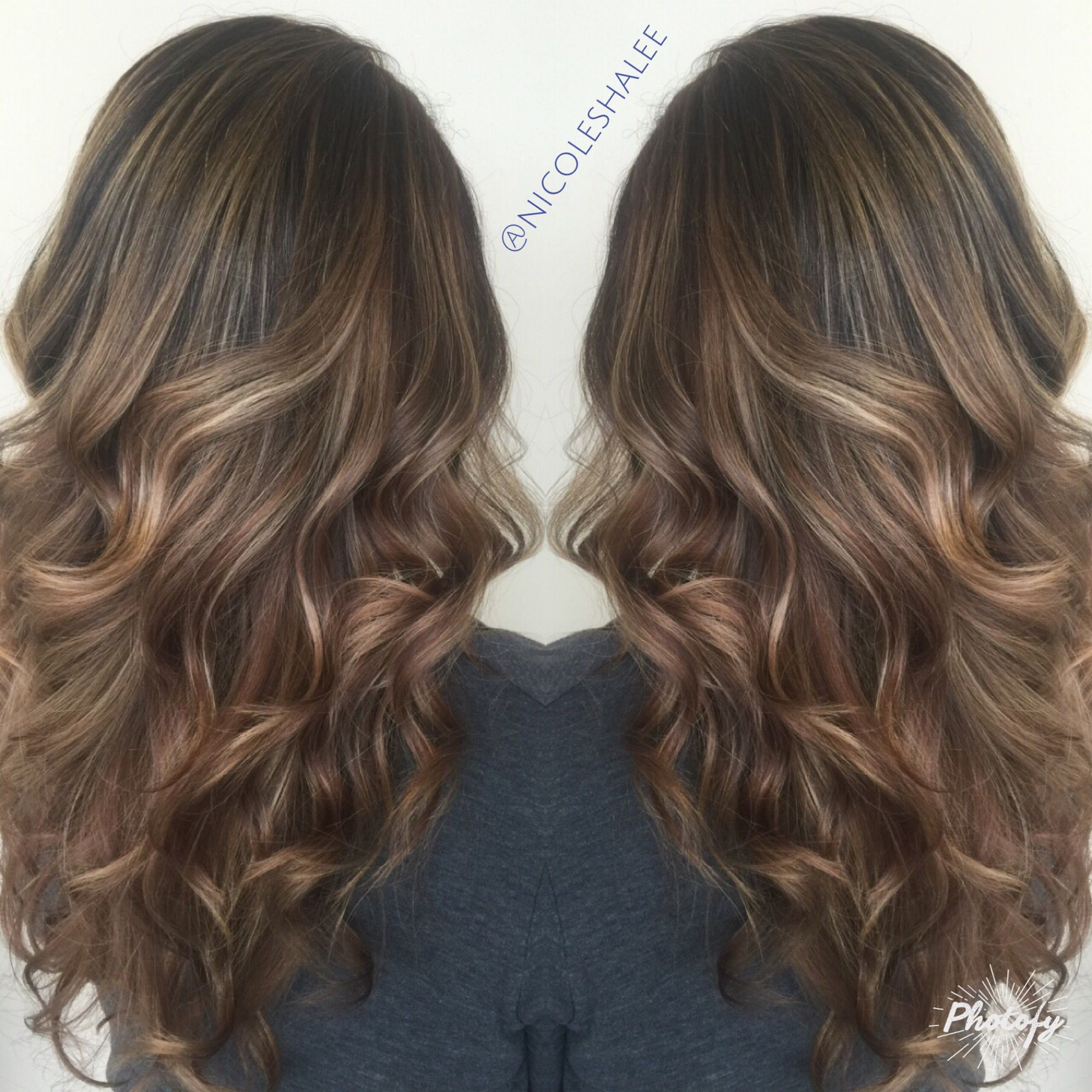 Chocolate Brown Base Color With Blonde Bayalage Highlights Kenra