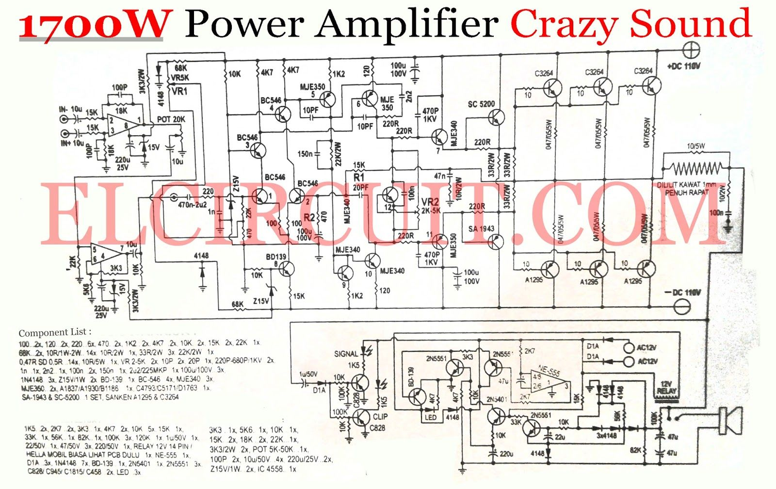 Crazy Sound 1700w Power Amplifier Circuit In 2018 Electronic Stuff Simple Remote Control Tester Eleccircuitcom Output Supply Diagram Audio
