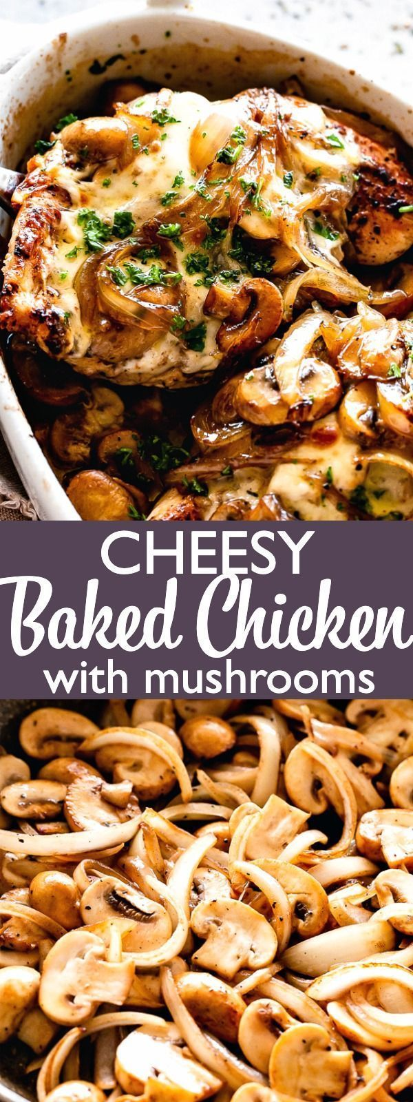 Easy Cheesy Baked Chicken Breasts with Mushrooms