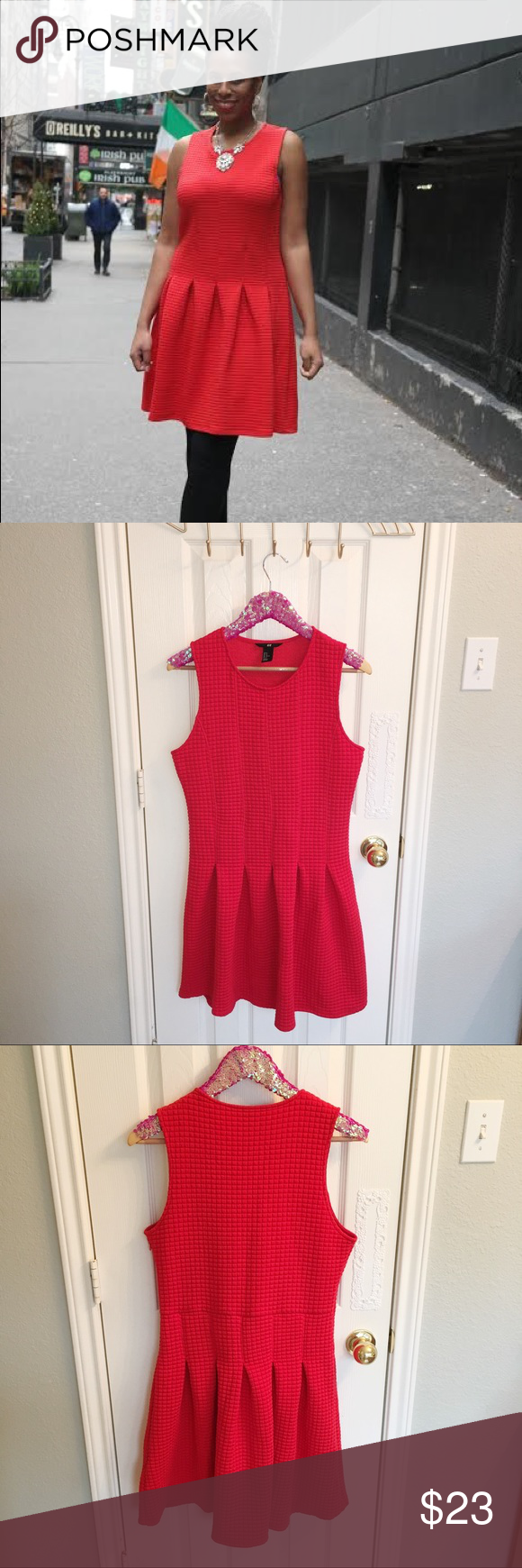H&m pink pleated dress  HuM Red Quilted Pleated Skater Dress Size M  Minis