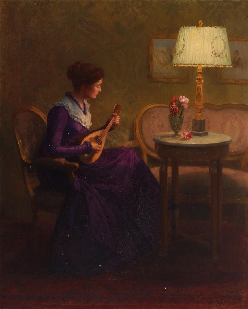 Karl Maria Schuster (1871-1953) The Mandolin player. 1912