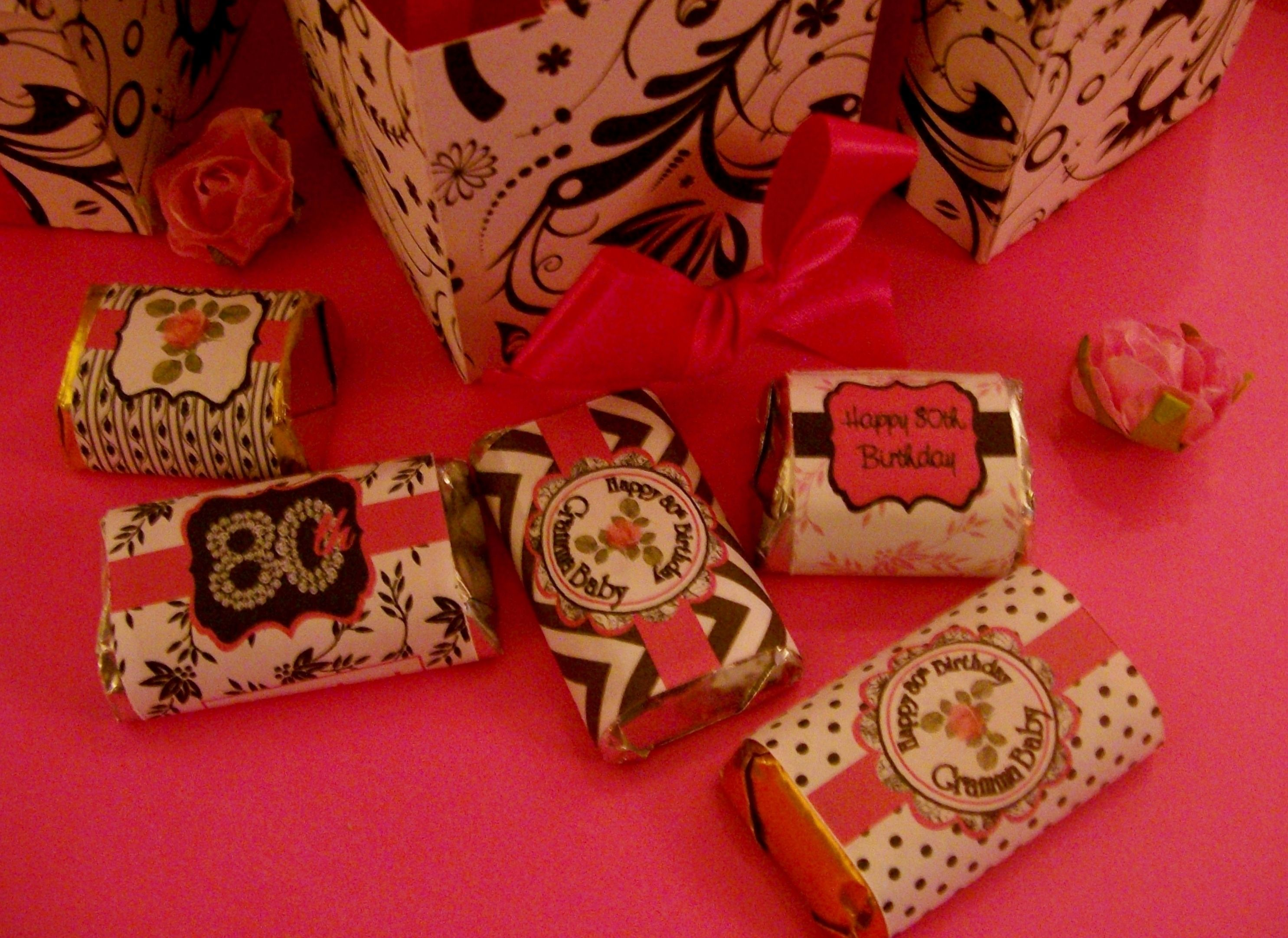 Hershey S Orted Chocolates Wred In Coordinating Printed Party Labels 80th Birthday Theme
