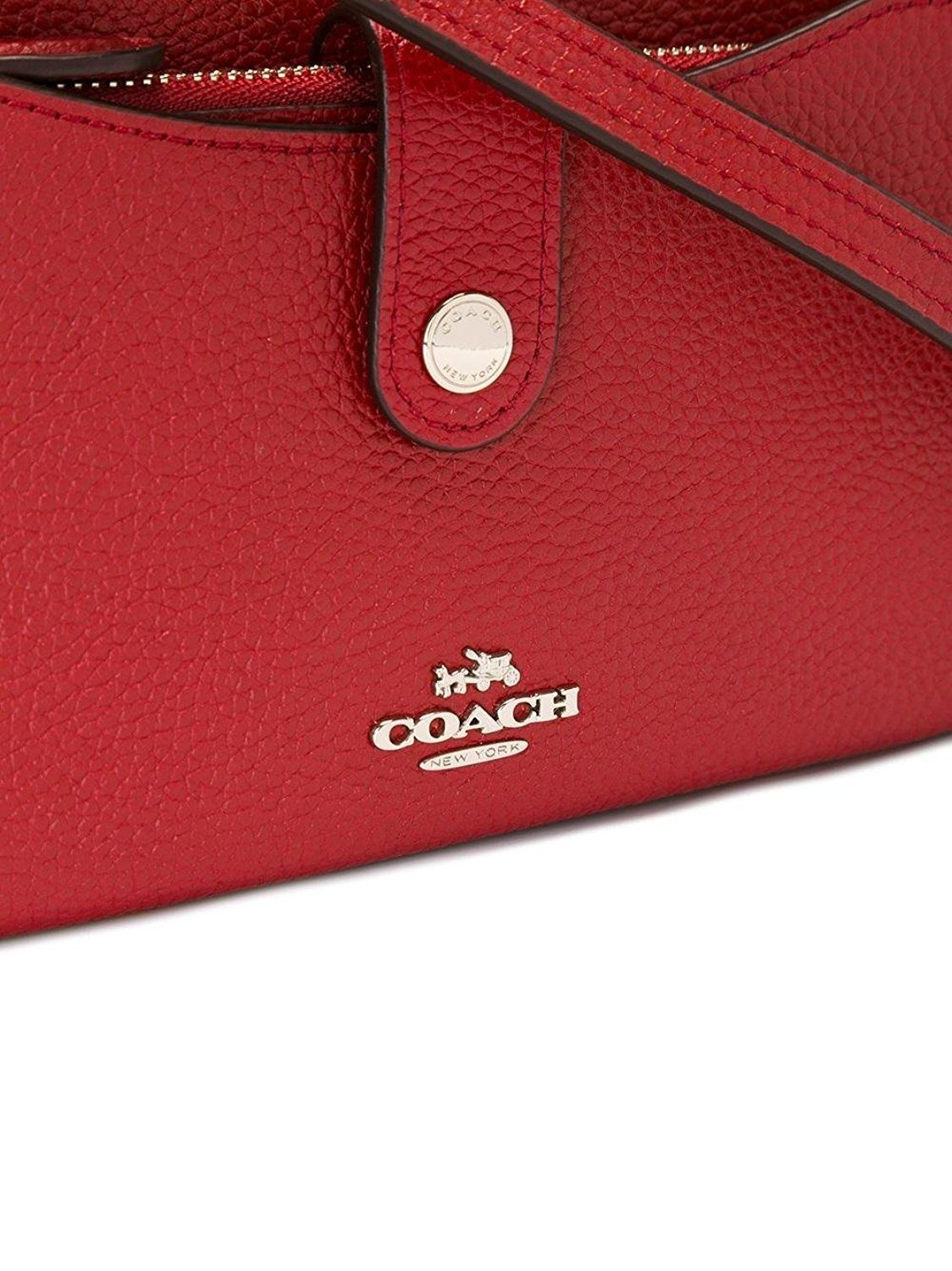 Coach Pebble Pop Up Color Red Currant Crossbody Wristlet 53529 Shoes