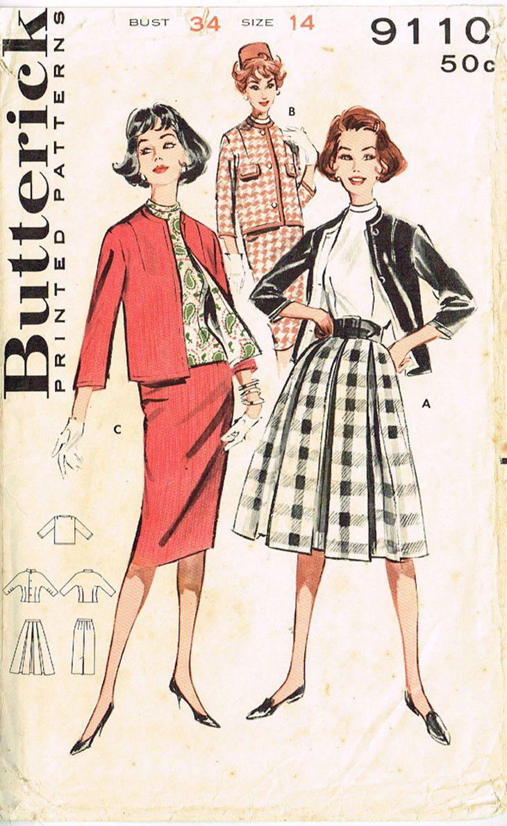 34 Best Vintage Kitchen Decor Ideas And Designs For 2019: 1960s Vintage Butterick Sewing Pattern 9110 Misses Suit W