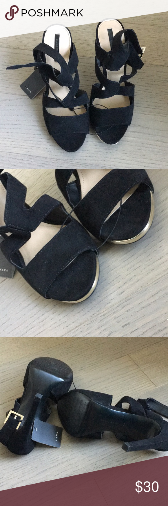 """f2d2bbc6867b NWT Zara Sandals NWT Zara sandals. Gold trim in the front of the shoe. The  shoes are not leather. Size 9 US  40 EU. Heel height 5"""". Zara Shoes Sandals"""