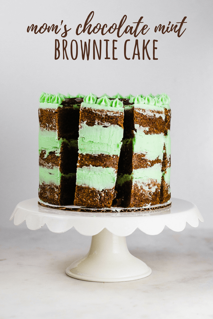 My mom's classic mint brownies were a favorite in our family growing up. This three-layer mint brownie cake, filled with chocolate ganache and a mint-flavored buttercream, uses the same recipe, just baked in six-inch round pans!