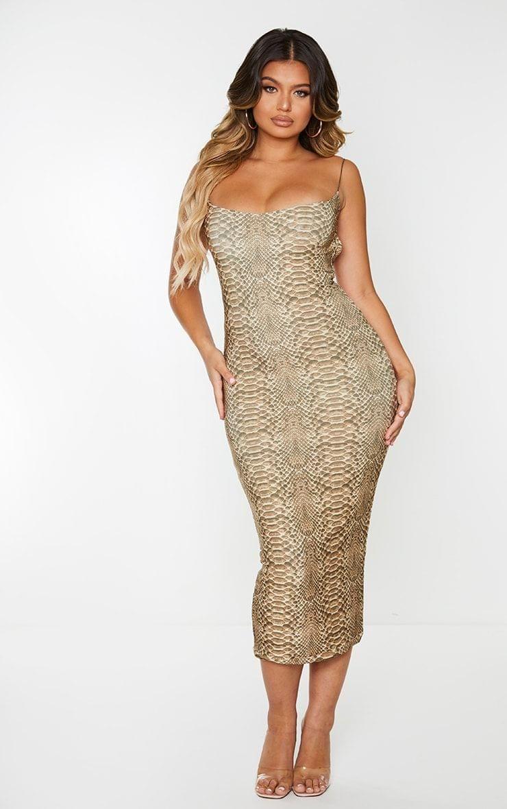 Tan Snake Print Slinky Open Back Strap Detail Midi Dress 20 Dresses Midi Dress Slinky [ 1180 x 740 Pixel ]