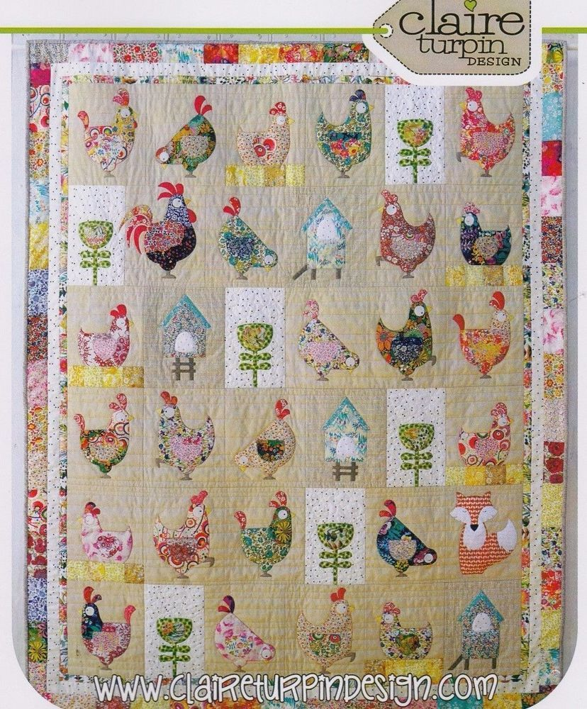Hen House - applique & pieced quilt PATTERN - Claire Turpin Designs