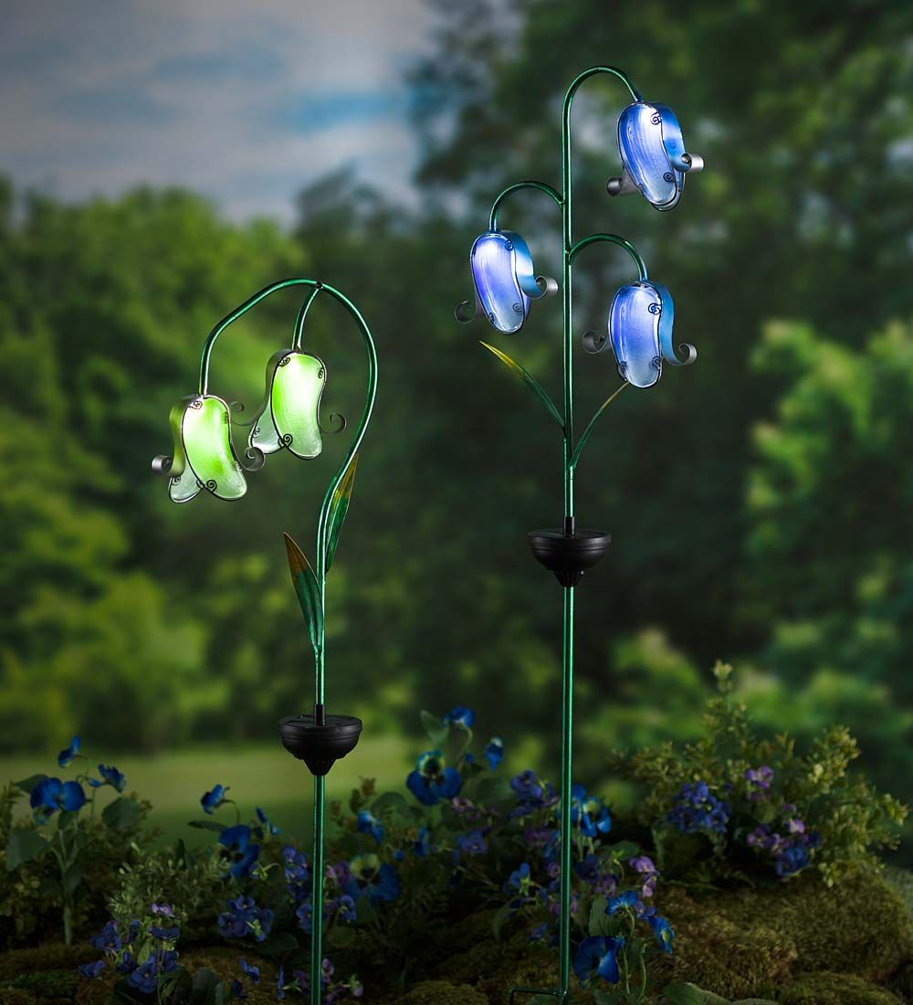 Solar Glass Flower Stake Decorative Garden Accents