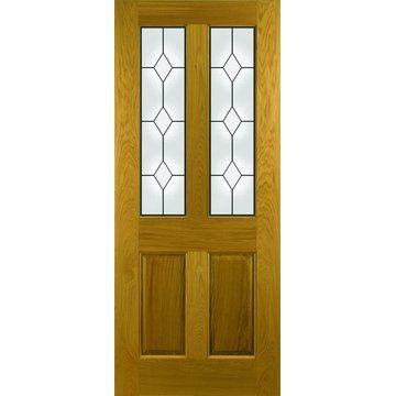 Image Of Part L Edwardian Diamond Oak Door   Bevel Style Tri Glazing