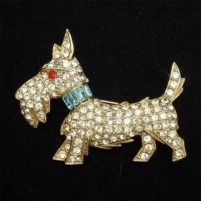 Weiss Dog Pin Vintage Rhinestones