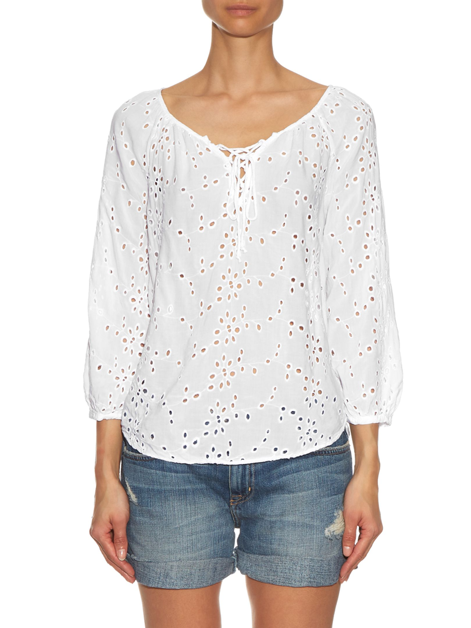 Londa broderie-anglaise lace-up blouse | Velvet By Graham & Spencer |  MATCHESFASHION