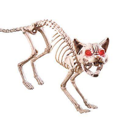 Motion-sensored Skeleton Cat Halloween Decoration Halloween Props